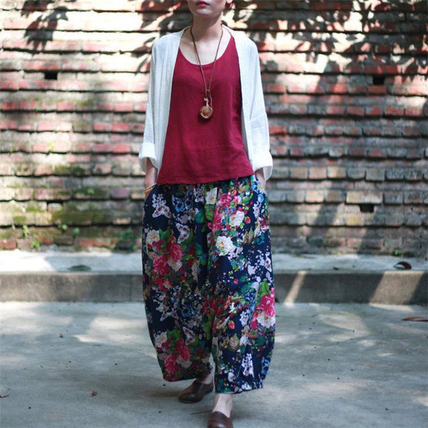 Pants - Women Flower Color Pattern Cotton Thin Cotton Harem Pants