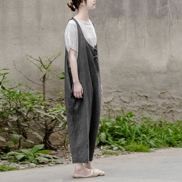 Pants - Women Gray Summer Cotton Linen Loose Bib