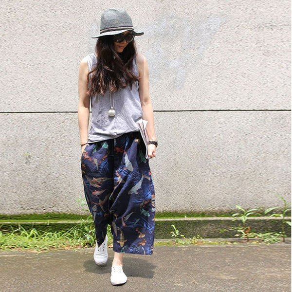 Pants - Women's Retro Style Loose  Linen Pants