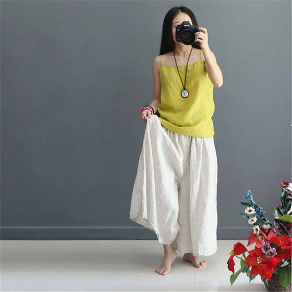 Pants - Women Soft Summer Loose Cotton Wide Leg Pants