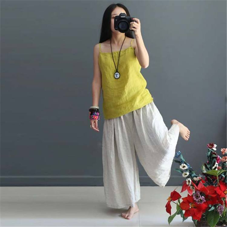 dc9d3b8ebf56 Women Soft summer loose cotton wide leg pants - Buykud. Sale