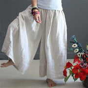 Women Soft summer loose cotton wide leg pants - Buykud