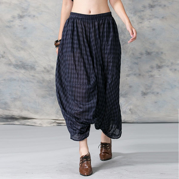Pants - Women Summer Casual Cotton Plaid Harem Pants