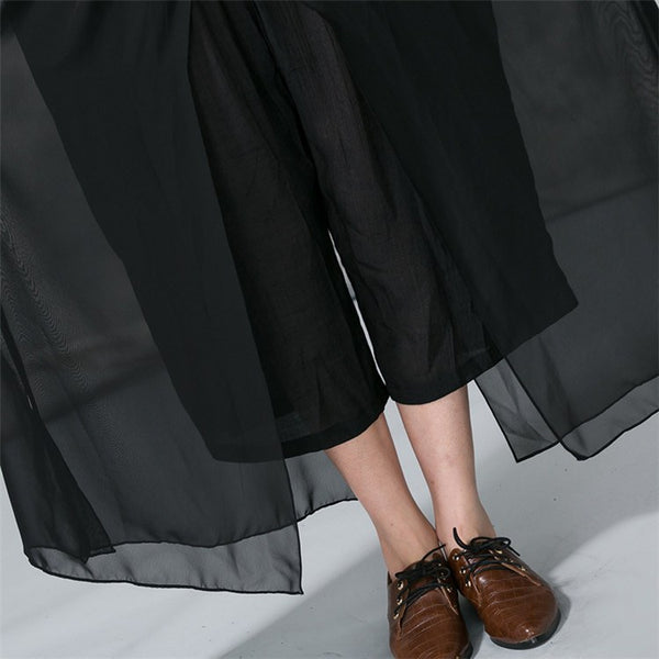 Pants - Women Summer Cotton Chiffon Double Layer Wide Leg Pants
