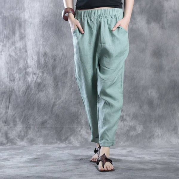 Pants - Women Summer Green Casual Slim Linen Travel Pants With Pockets