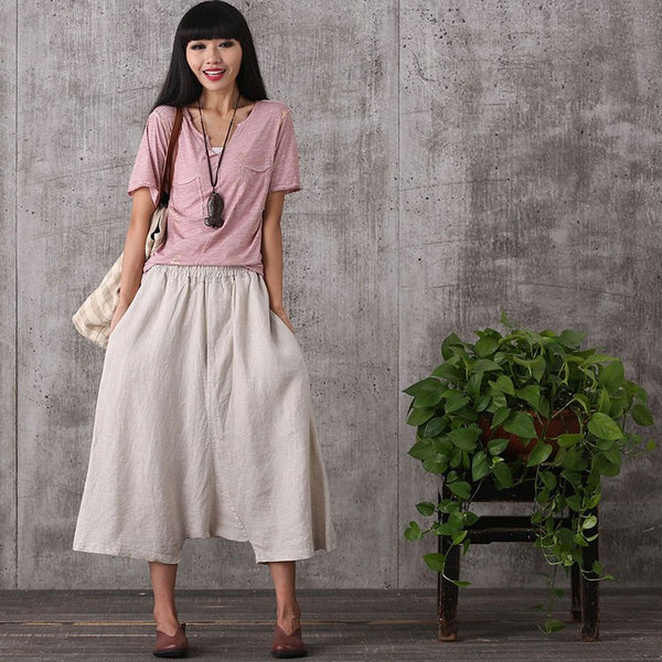 Women summer loose cotton linen pants - Buykud