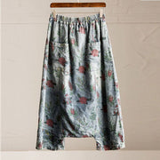 Women summer loose Floral printing cotton jeans with pockets pants - Buykud