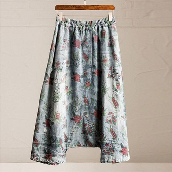 Pants - Women Summer Loose Floral Printing Cotton Jeans With Pockets Pants