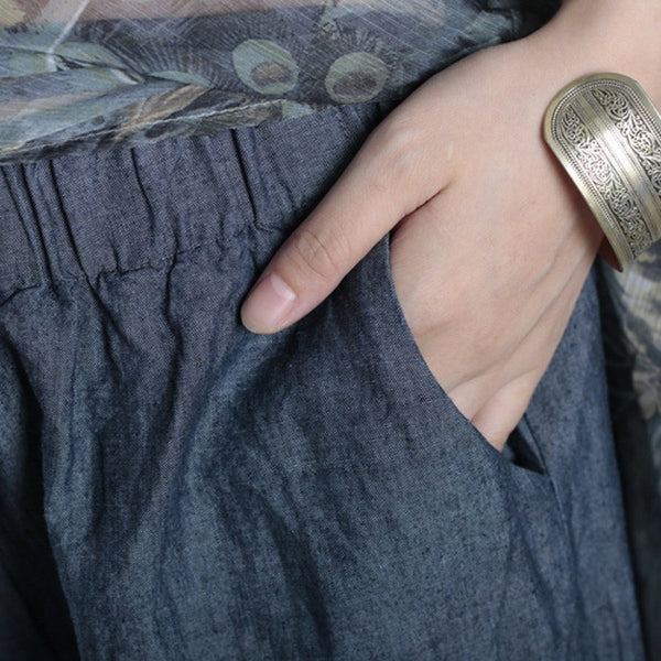 Pants - Women Summer Loose Silk Linen Pant