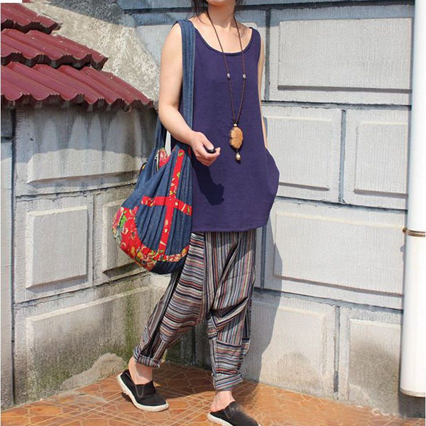 Pants - Women Vintage Mixed Color Stripe Loose Cotton Linen Loose Harem Pants