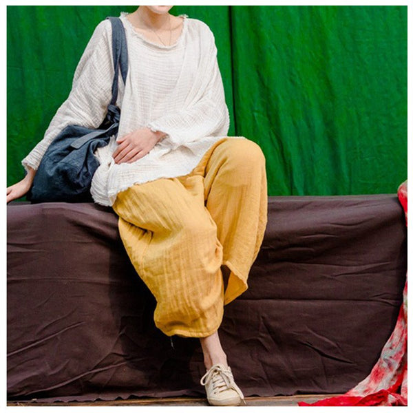 Pants - Women Yellow Vintage Cotton Loose Pants