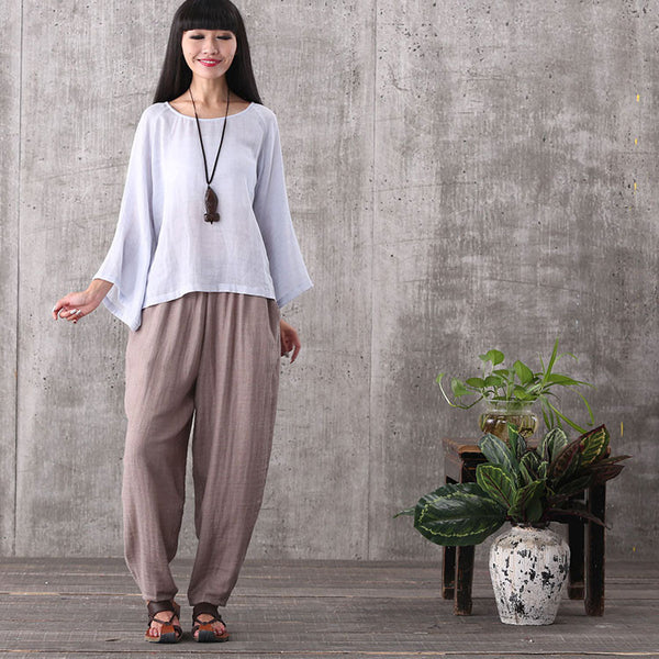 Women casual loose coffee pockets cotton plus size sport pants