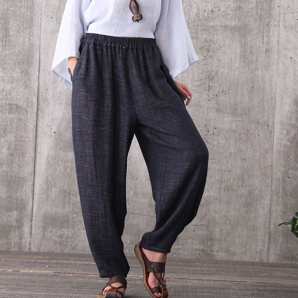 Women casual blue loose cotton plus size sport pants with pockets