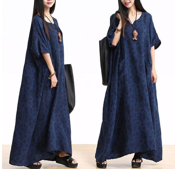 Plus Size Cotton Linen Maxi Dress Loose Fitting Bat Sleeve Summer Dresses