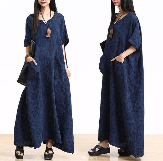Plus Size Cotton Linen Maxi Dress Loose Fitting Bat Sleeve Summer Dresses - Buykud