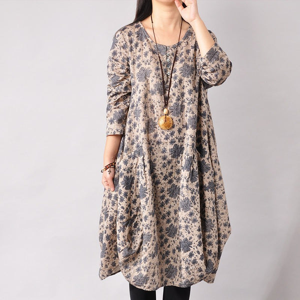 Print Cotton Long Sleeve Dresses