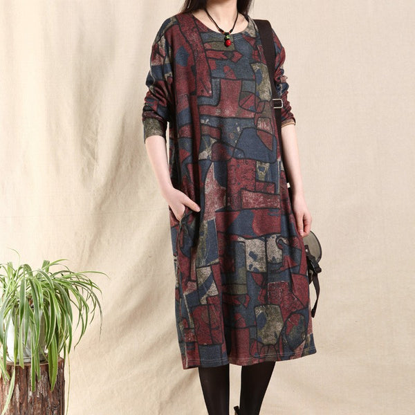Print cotton vintage loose fitting long sleeve dress - Buykud