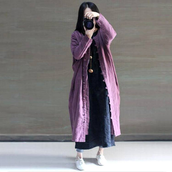 Purple Loose Fitting Cotton Linen Coat