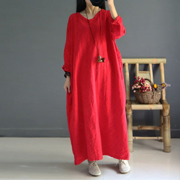 Red Loose Fitting Cotton Linen Dress