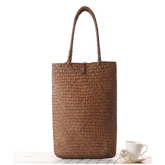 Retro Natural Straw Women Handmade Shoulder Bag