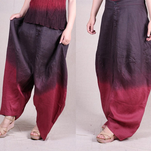 (S-3XL)Women Summer Plus Size Linen Harem Pants