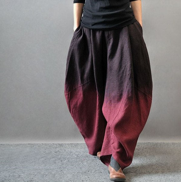 (S-3XL)Women Winter And Autumn Plus Size Linen Harem Pants