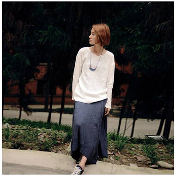 Shirt - Women Blue Cotton Linen Skirt