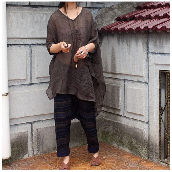Women linen solid color irregular shirt - Buykud