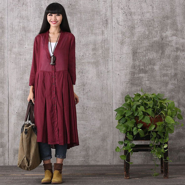 Women long sleeve cardigan cotton linen long shirt - Buykud