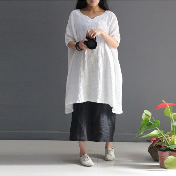 Women loose solid color cotton linen  shirt - Buykud