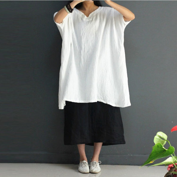 Shirt - Women Loose Solid Color Cotton Linen  Shirt