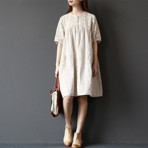 Shirt - Women Summer Short Sleeve Cardigan Cotton Linen Shirt