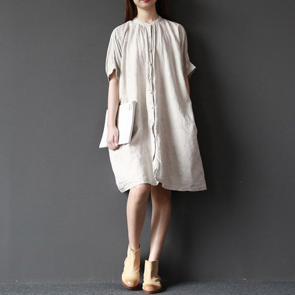 Shirt - Women Summer Short Sleeve Loose Cotton Linen Shirt