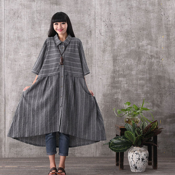 Women summer black irregular stripe button cardigan loose cotton linen plus size t-shirt dresses with pockets