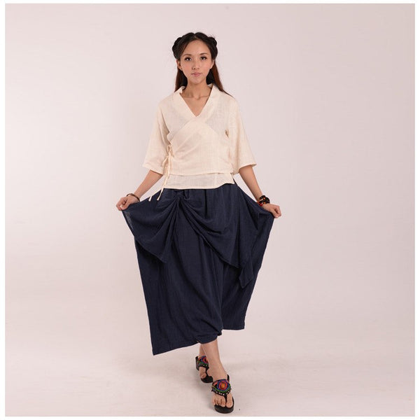 Skirt - Women Autumn Irregular Cotton Fold Skirt(pants)