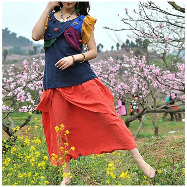Skirt - Women Autumn Loose Cotton Fold Skirt(pants)