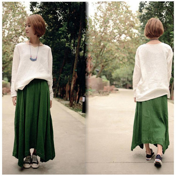 Skirt - Women Green Cotton Linen Skirt