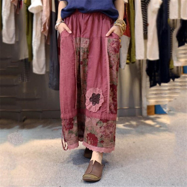 Skirt - Women Linen Casual Elastic Waist Skirt
