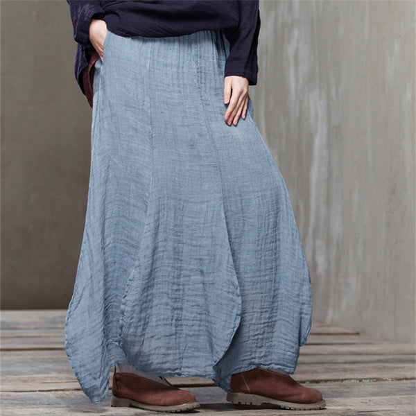 Women Loose spring summer cotton solid color skirts