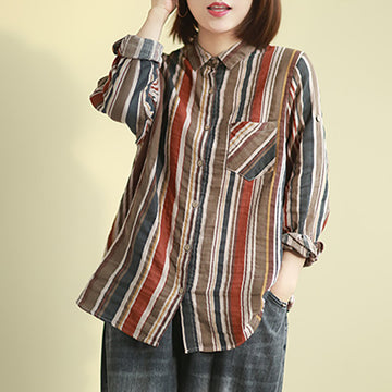 Casual Colored Vertical Striped Shirt
