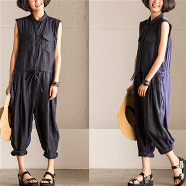 Suit - Women Cotton Linen Jumpsuits