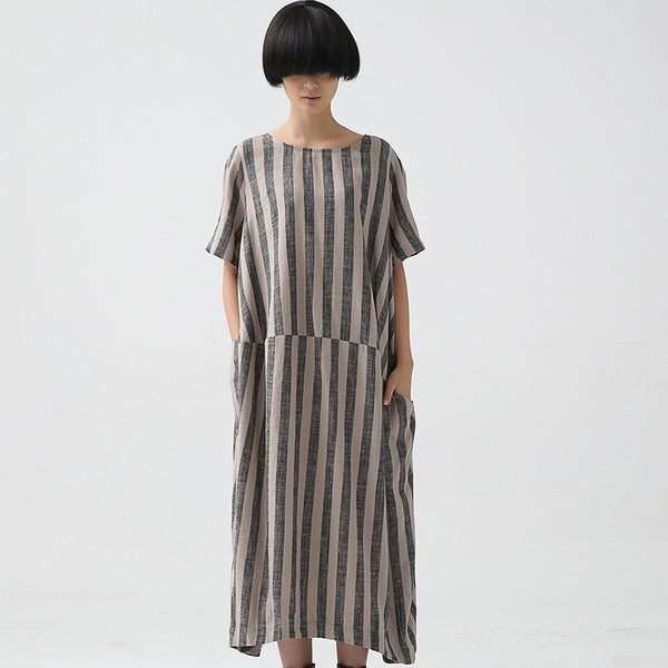Summer Cotton Linen Dress Loose Fitting Short Sleeve