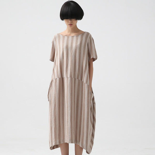 Summer Cotton Linen Dress Loose Fitting Short Sleeve Khaki