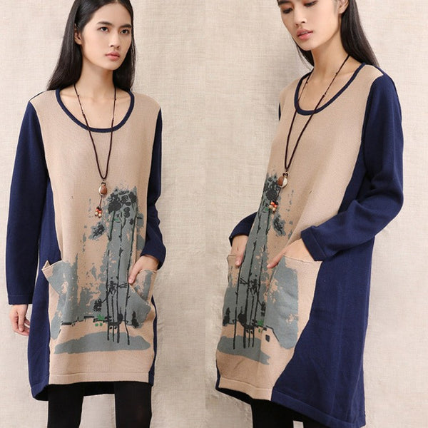 Sweater - Women Long Sleeve Loose Cotton Knitting Sweater Dress