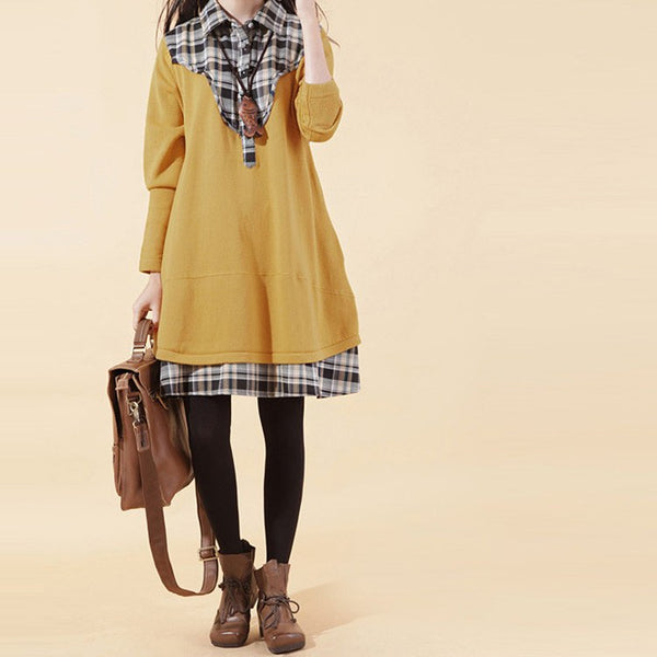Sweater - Women's Plaid Stitching Pullover Cotton Sweater Dress