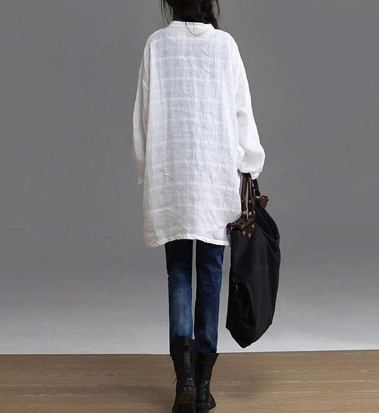 Top - Women Cotton  Linen Long-sleeved Shirt