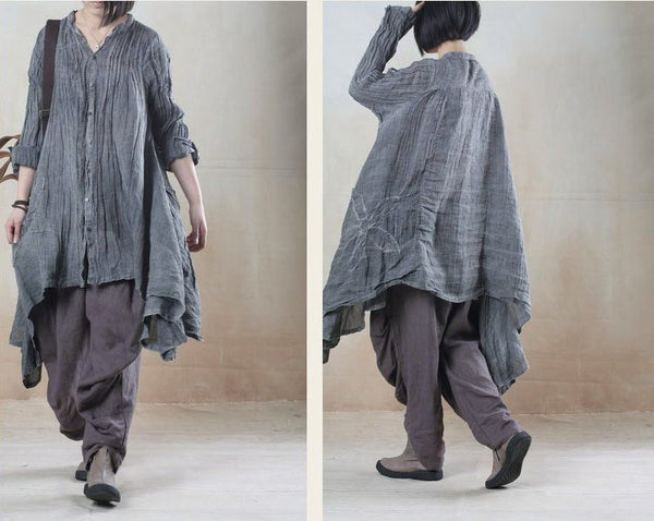 Top - Women Linen Loose Shirt Dress