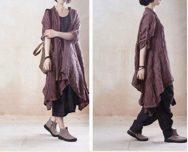 women linen loose shirt dress