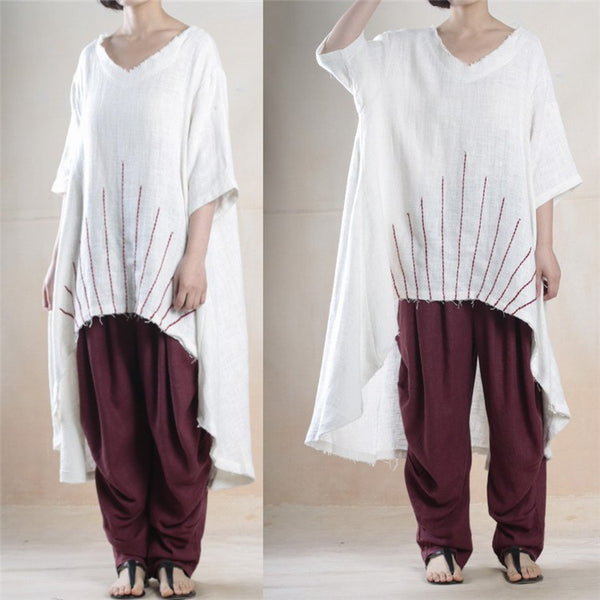 Top - Women  Loose Irregular Cotton Linen Shirt