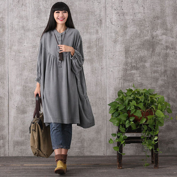 Top - Women Retro Style Loose Cotton Linen Long Top